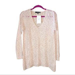 MAK Sweater | Pink Loose Knit V-Neck Sweater | M